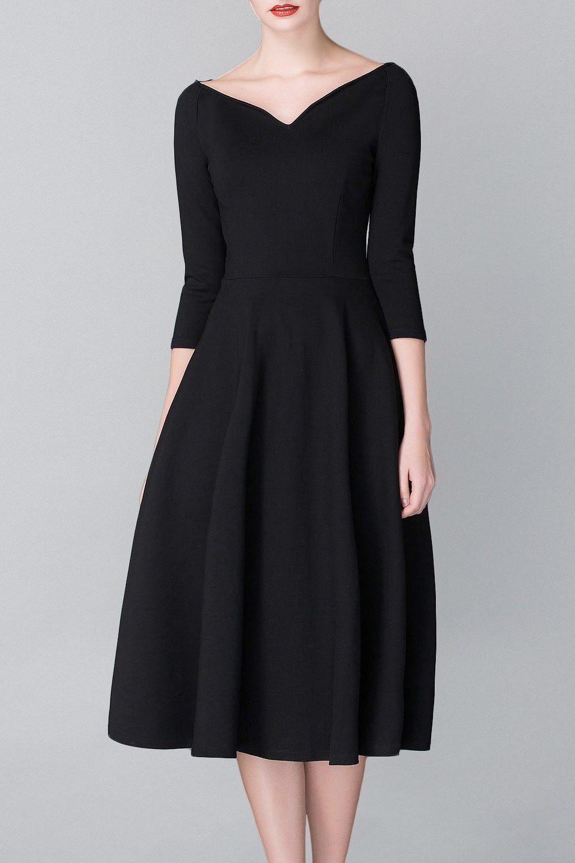 c77f52ac56c Cys Black A Line Midi Hepburn Dress Midi Dresses at DEZZAL