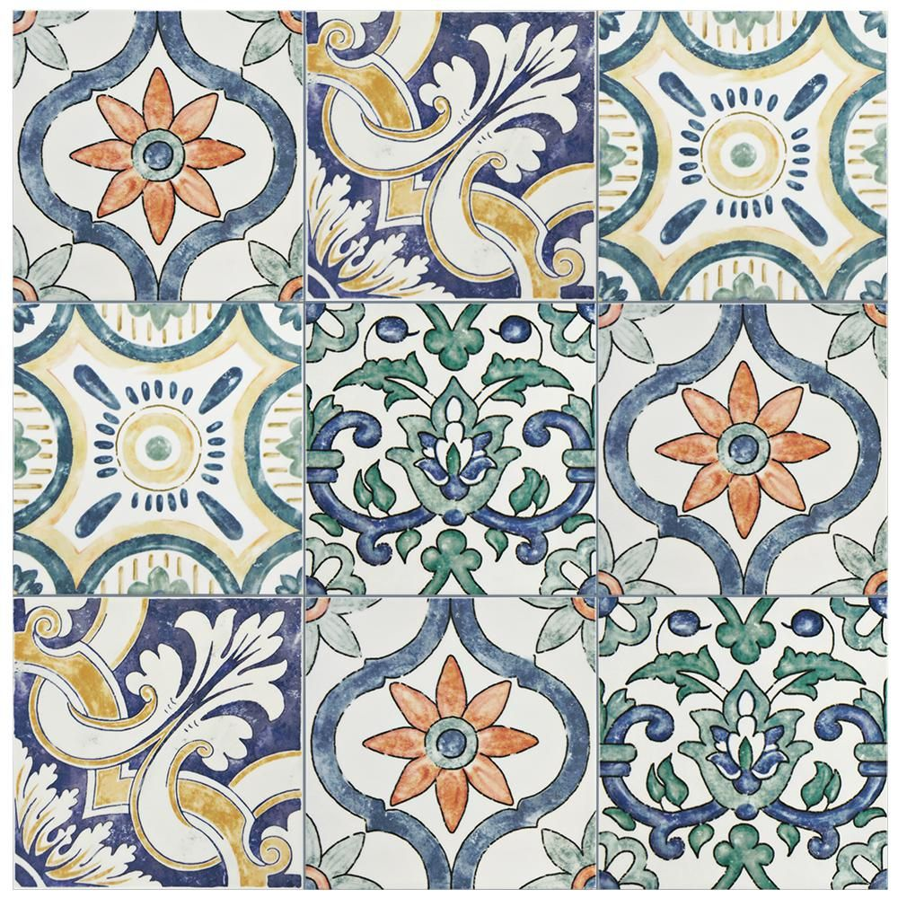 Merola Tile Bourges Isola 7 7 8 In X 7 7 8 In Ceramic Wall Tile 11 46 Sq Ft Case Waebouis The Home Depot Ceramic Wall Tiles Wall Tiles Painting Tile