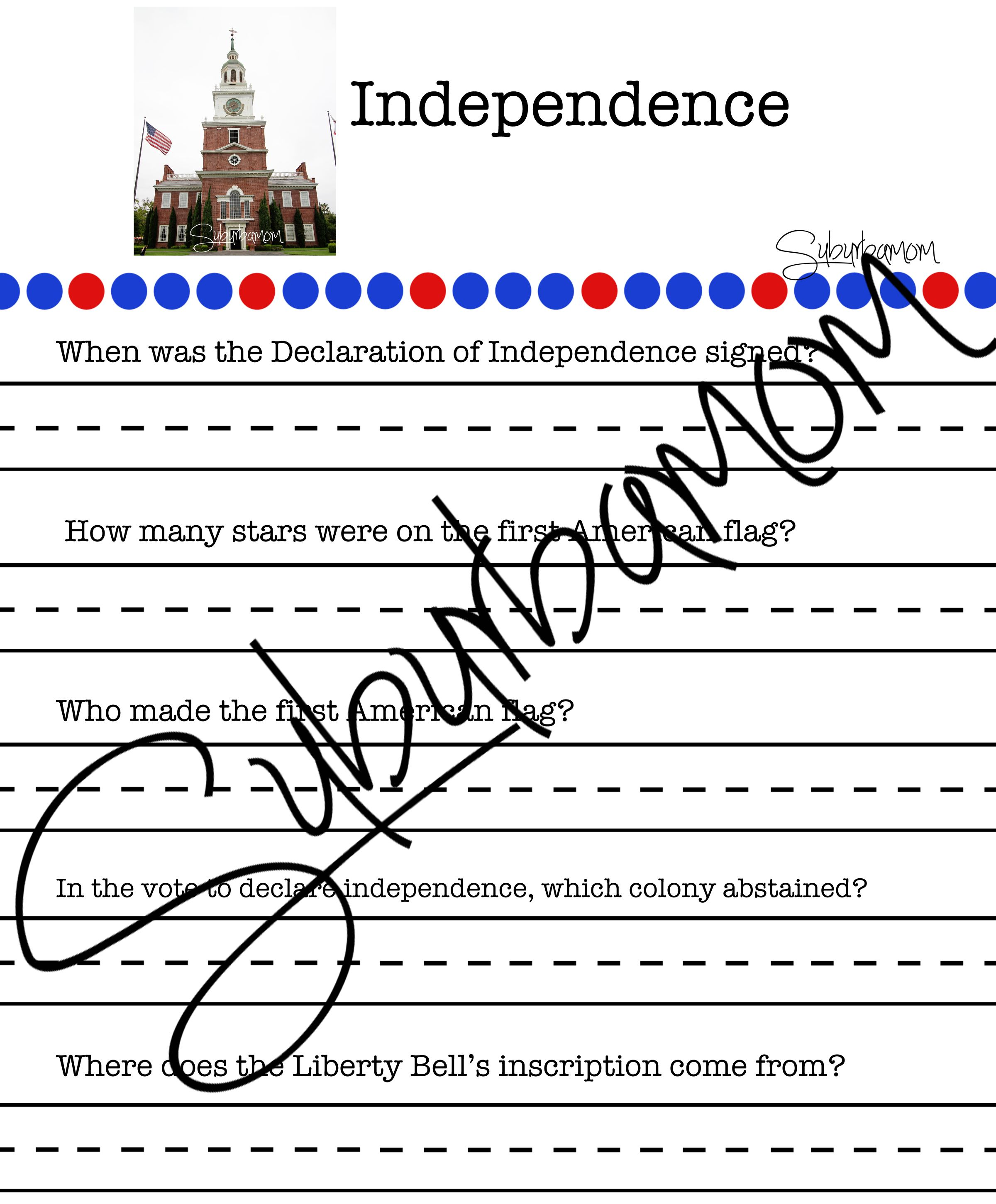 4th Of July Independence Day Declaration Of Independence