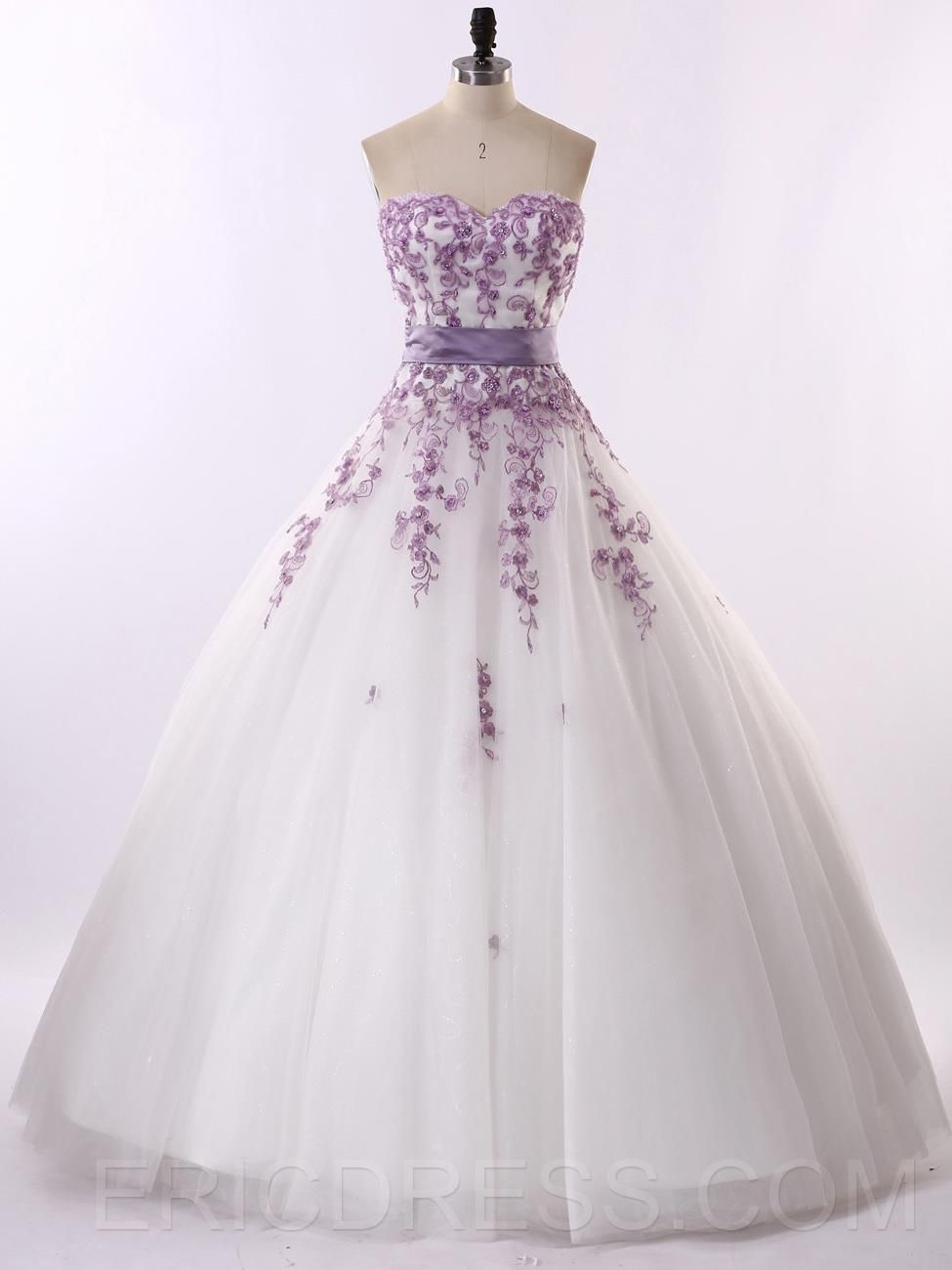 Lilac dress for wedding  Long Colorful Appliques Ball Gown Sweetheart Wedding Dress  my