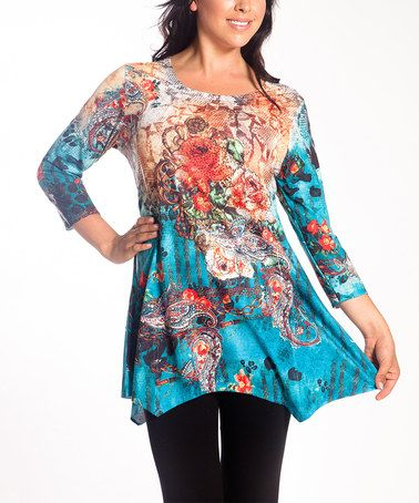 Another great find on #zulily! Teal Floral Embellished Scoop Neck Tunic - Women #zulilyfinds