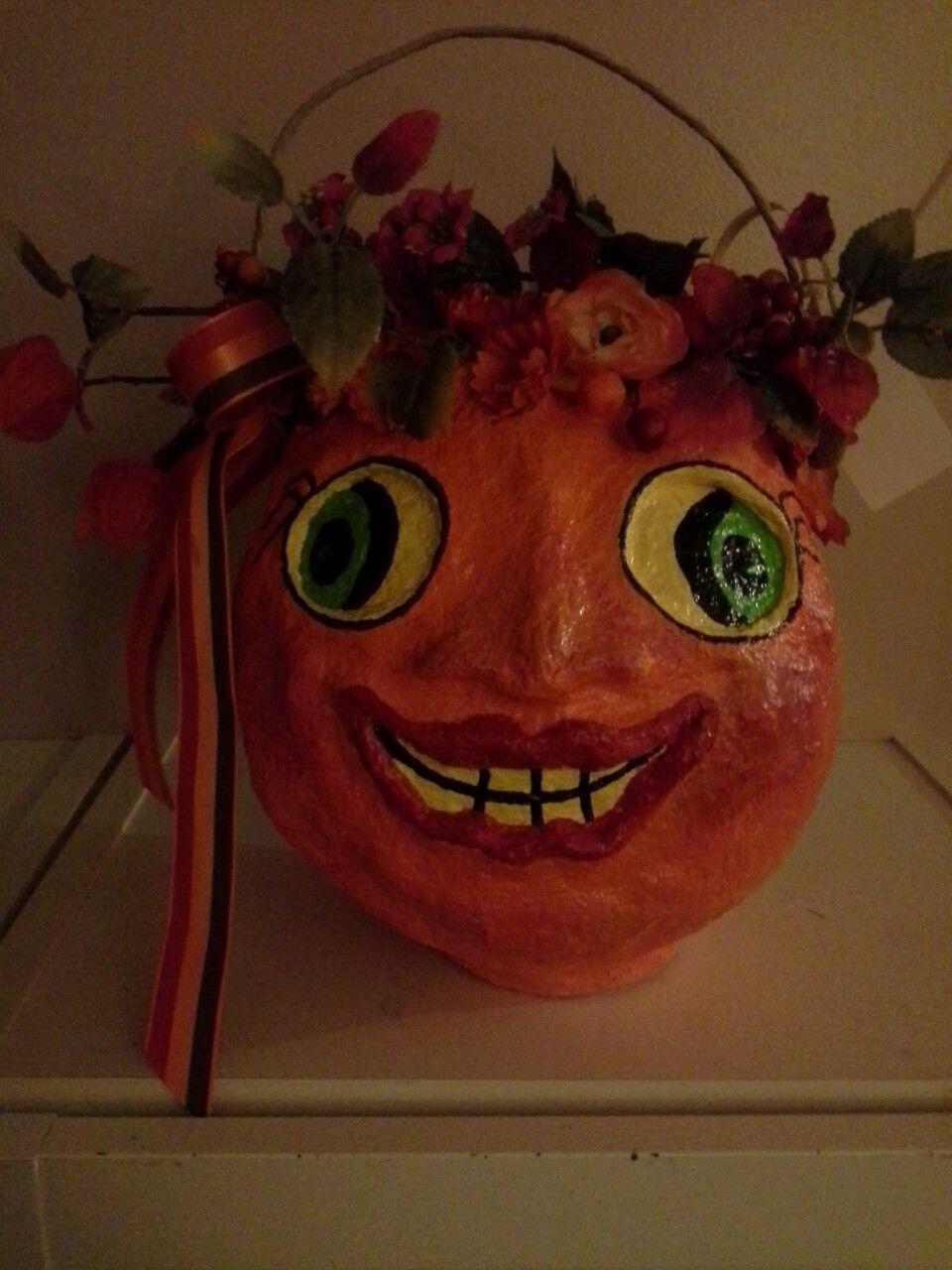 Halloween Pumpkins by Sue Hippy Pumpkin Girl Paper Mache
