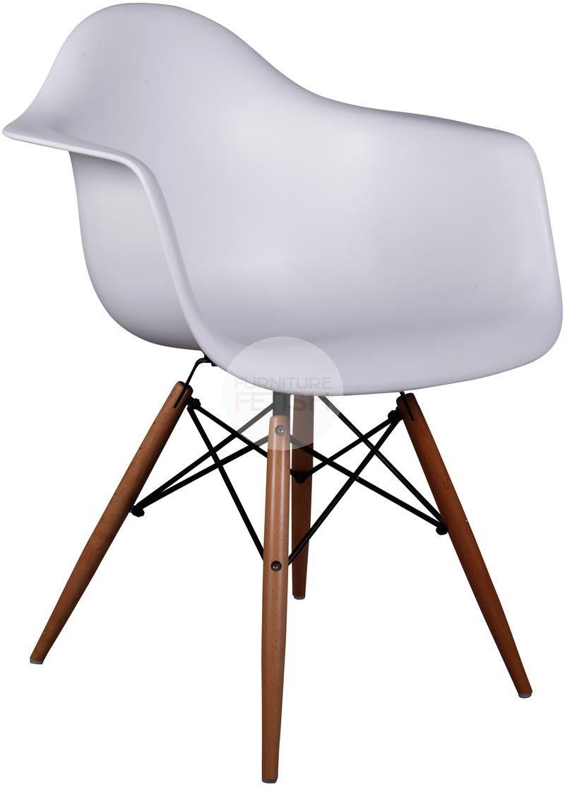 Attirant DAW Eames Armchair Replica   Dining Chair Timber Legs White