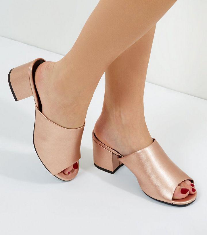 Rose Gold Wide Fit Metallic Block Heel Mules