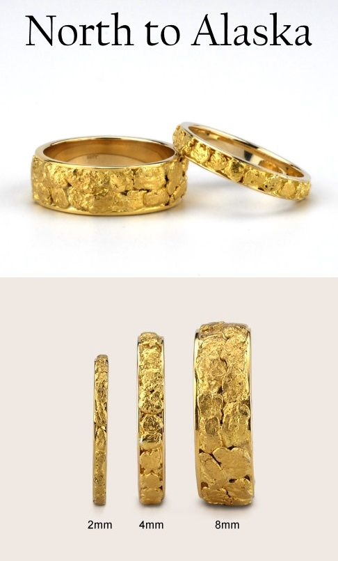 North to Alaska Gold Nug Wedding Band for both Men and Women