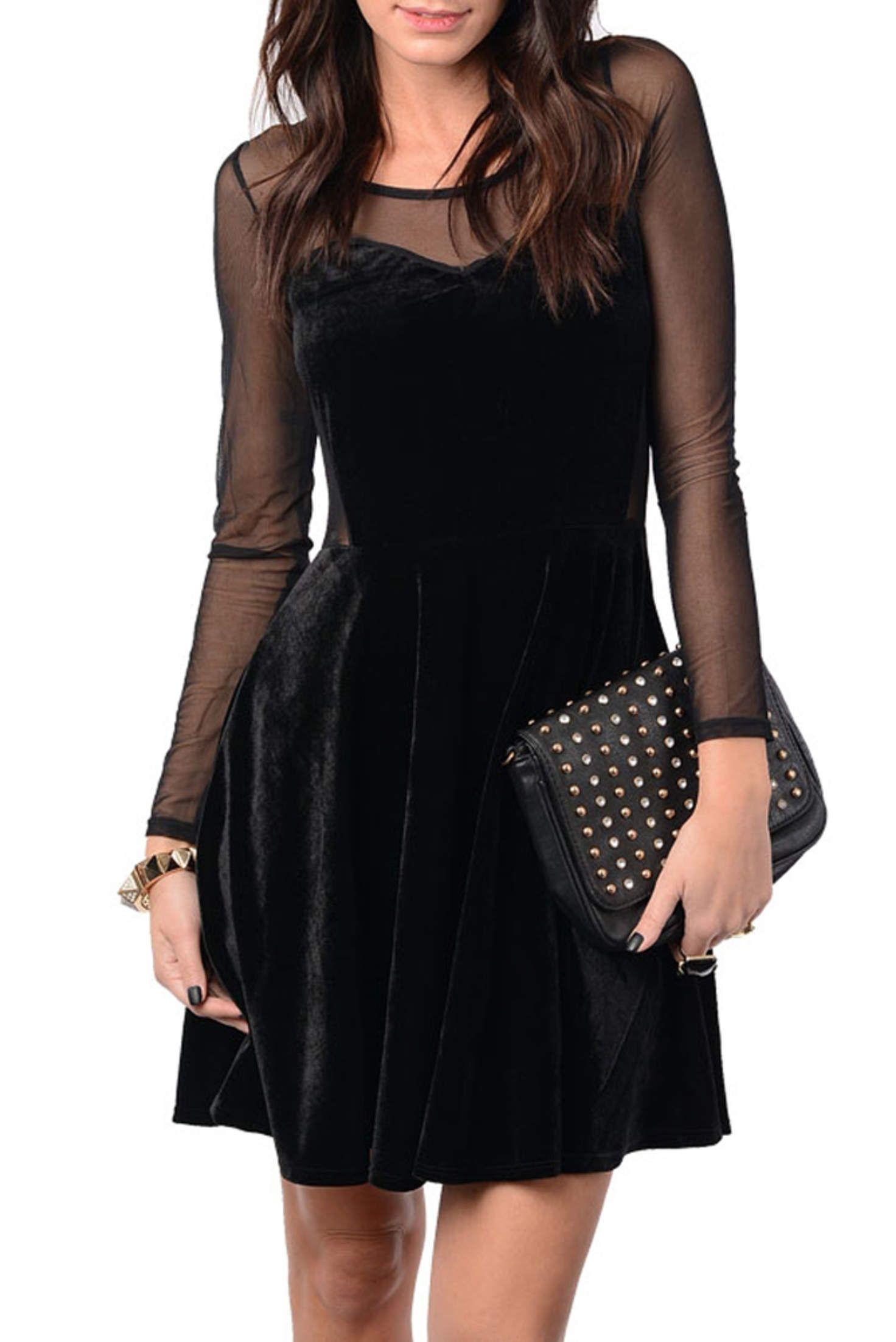 Black Chic Mesh Long Sleeve Velvet Dress Long Sleeve Velvet Dress Velvet Dress Dresses [ 2204 x 1472 Pixel ]