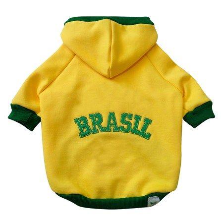 Blusa de Moleton com Capuz e Zíper Amarelo Br.Cão - MeuAmigoPet.com.br #petshop #cachorro #cão #meuamigopet
