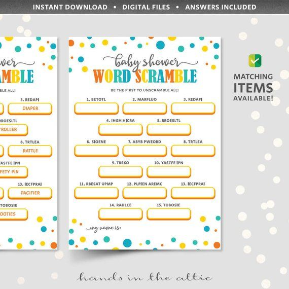 Word Scramble Baby Shower Game Printable Word Jumble Puzzle