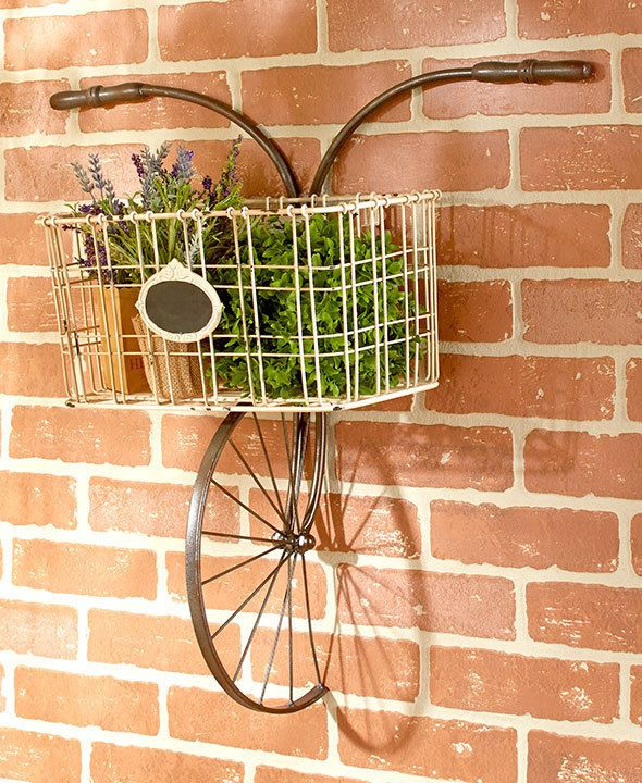 Vintage Bicycle Wall Basket Plants Indoor Outdoor Decor Shabby Vintage Decor Shabby Chic Decor Living Room Bicycle Decor