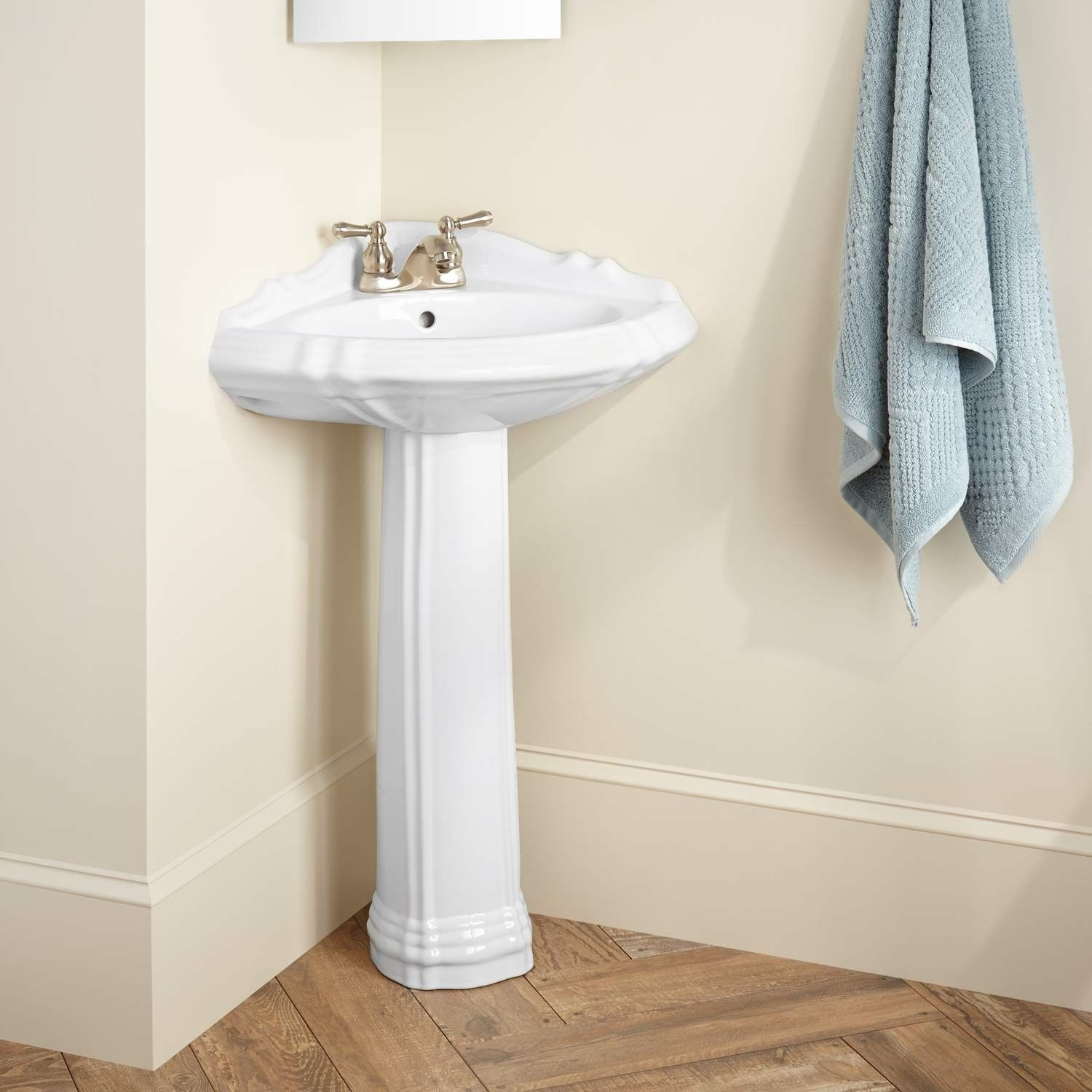 "27"" Regent Corner Porcelain Pedestal Sink  4"" Centers  Biscuit Gorgeous Corner Sink For Small Bathroom Design Ideas"