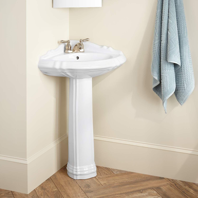 """27"""" Regent Corner Porcelain Pedestal Sink 4"""" Centers Biscuit"""