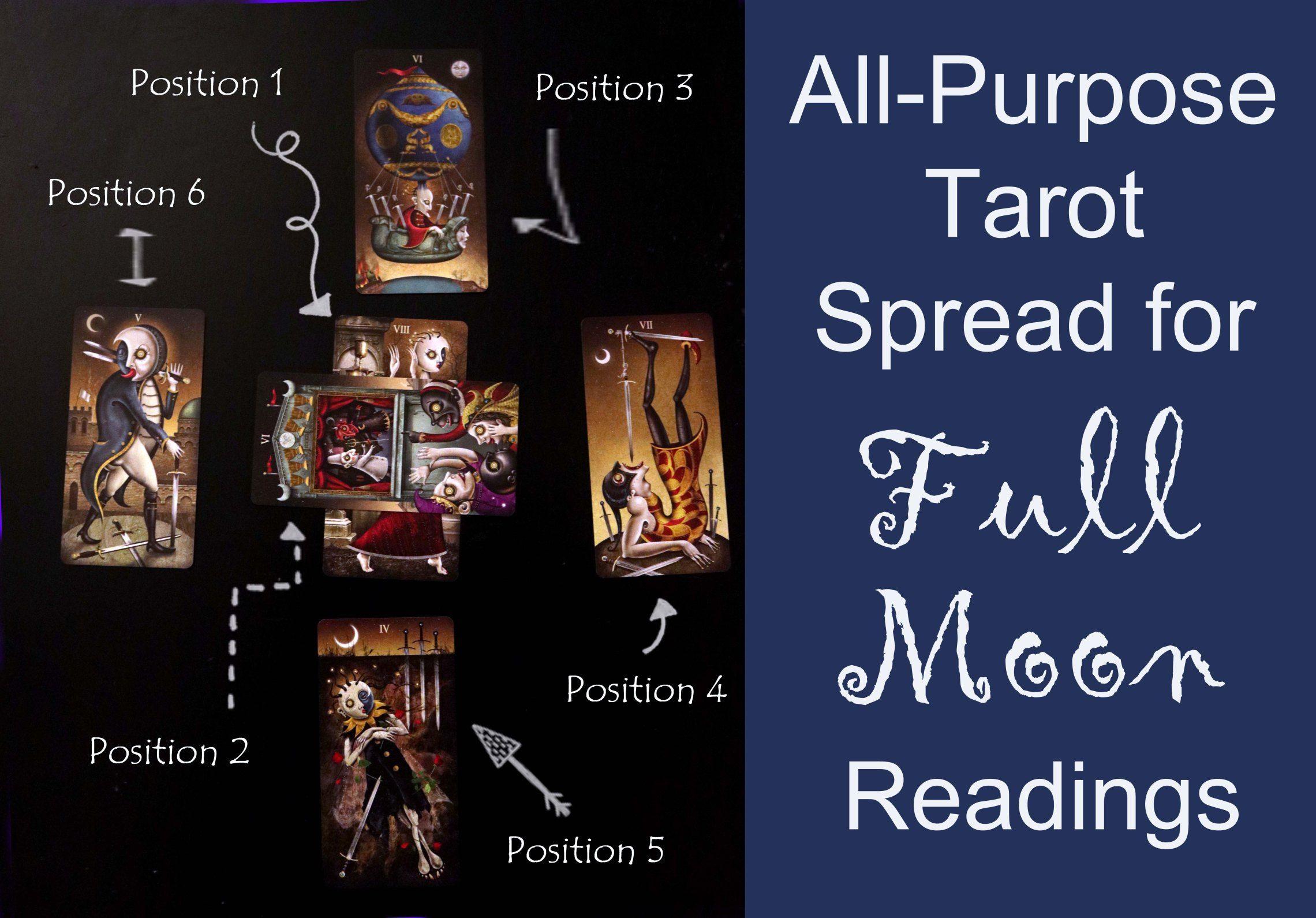 All Purpose Tarot Spread for Full Moon Readings #fullmoontarotspread