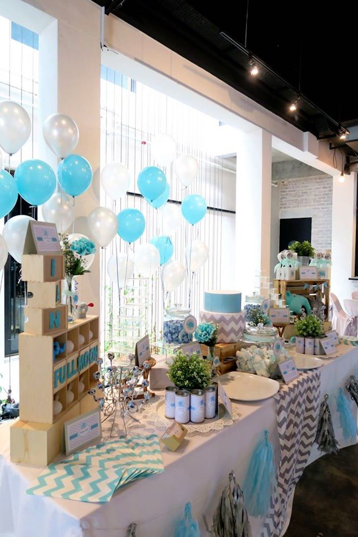 tablescape from modern elephant baby shower at karau0027s party ideas