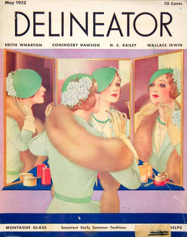 1932 Cover Delineator Dynevor Rhys Art Woman Fashion Mirror Fur Makeup Beauty