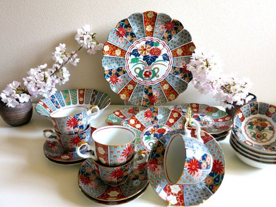 Vintage Japanese Imari Arita Fanshaped 22pc by InkstoneMagic
