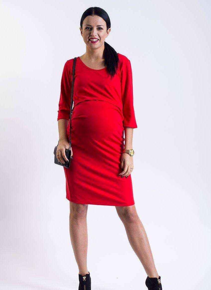 Červené těhotenské šaty na kojení s kulatým výstřihem a tříčtvrtečním  rukávem 95d61a0845