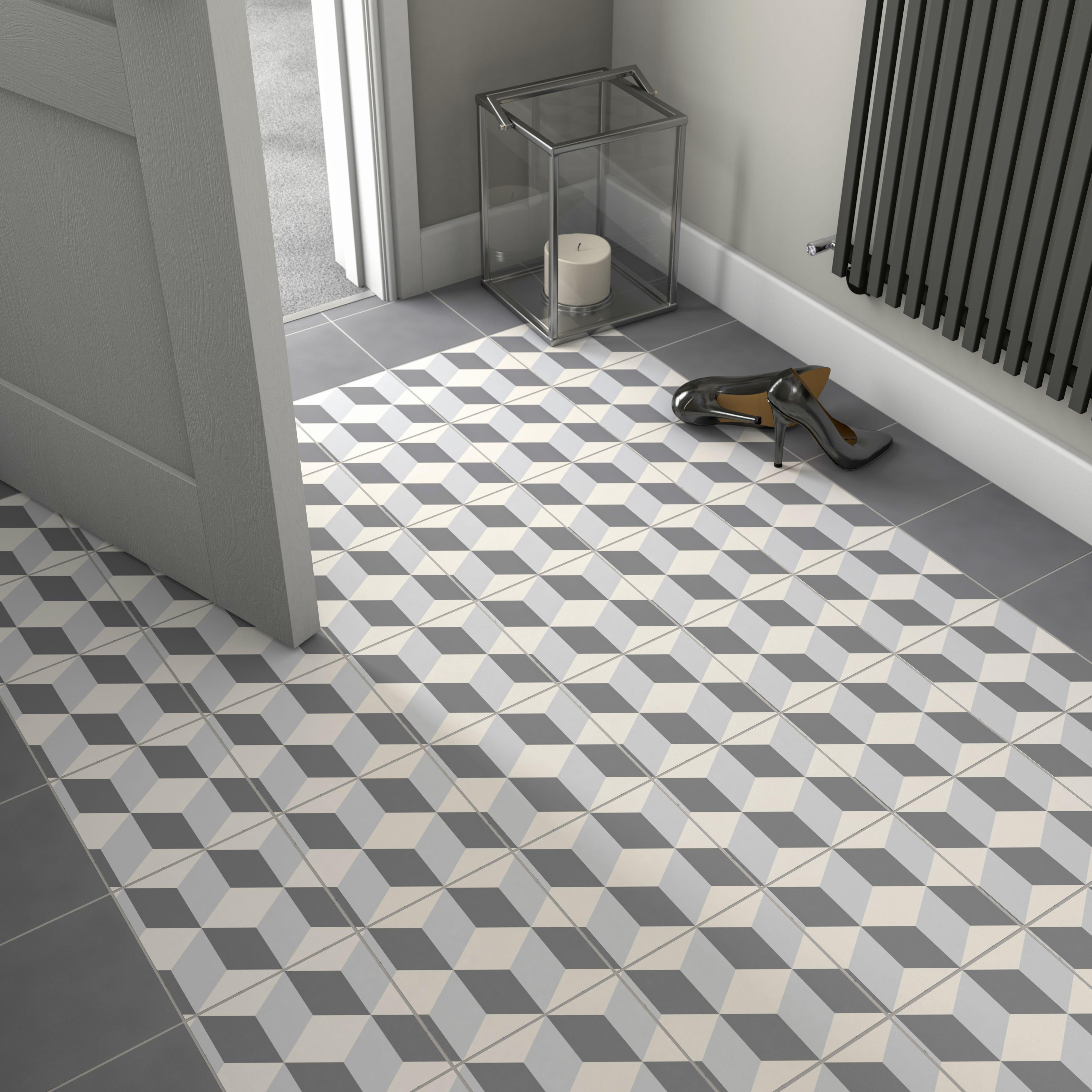 Hydrolic Black White Matt Concrete Porcelain Floor Tile Pack Of 25 L 200mm W 200mm In 2019 Tile Floor Tiles Flooring