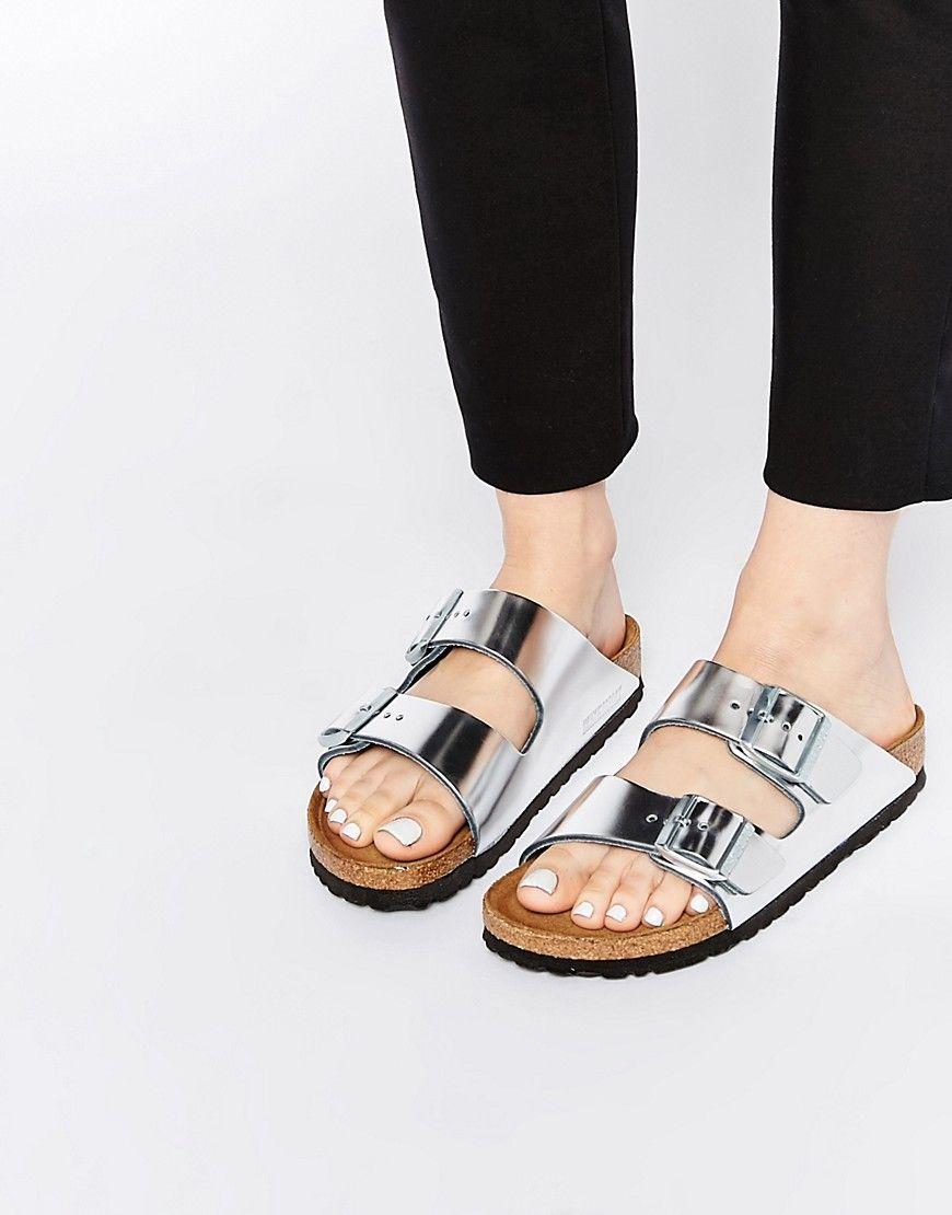 248bb47b036 Image 1 of Birkenstock Arizona Metallic Silver Slider Flat Sandals ...