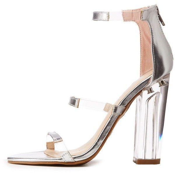 81f566cef9a4 Bamboo Clear Heel Ankle Strap Sandals ( 25) ❤ liked on Polyvore featuring  shoes