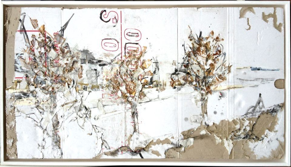 View at Admiralengracht, Amsterdam (2013).  mixed media on cardboard.  100 x 40 cm Maartenvanderlinde.com