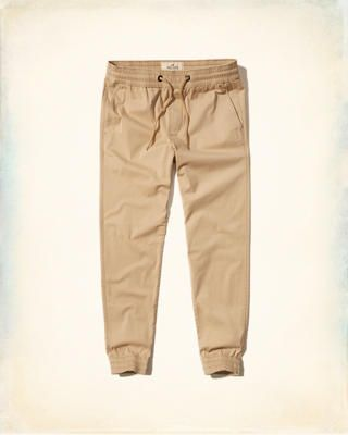 hollister twill joggers