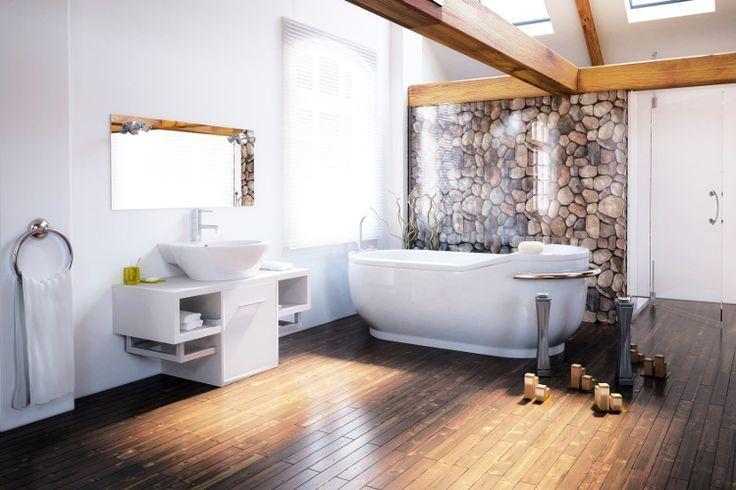 Idée Décoration Salle De Bain Baignoire Sol Plancher Bois - Salle de bain sur plancher bois
