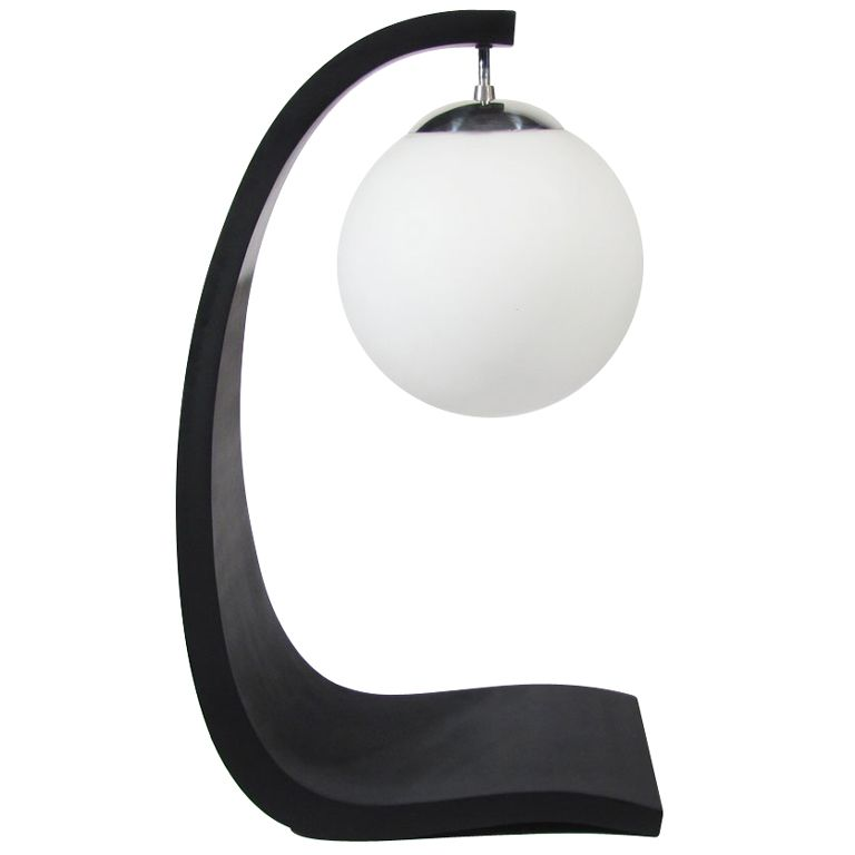 sculptural table lamp in black with original thick satin white case glass globe and polished aluminum hardware - modeline - usa - 1960s