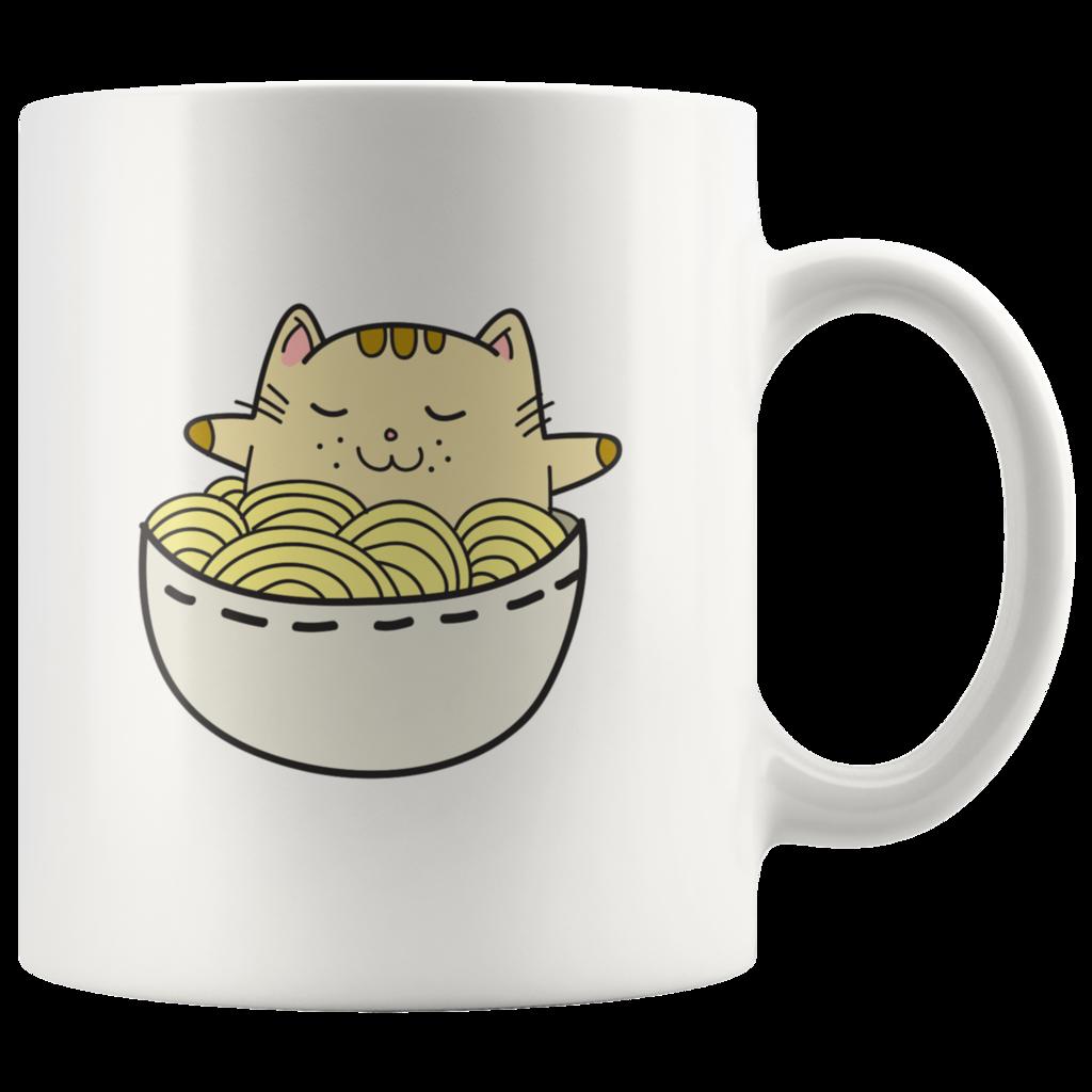 Adorable Kawaii Japanese Anime Cat in a Ramen Bowl Anime