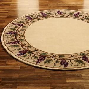 Grapes Napa Border Round Area Rugs Round Area Rugs