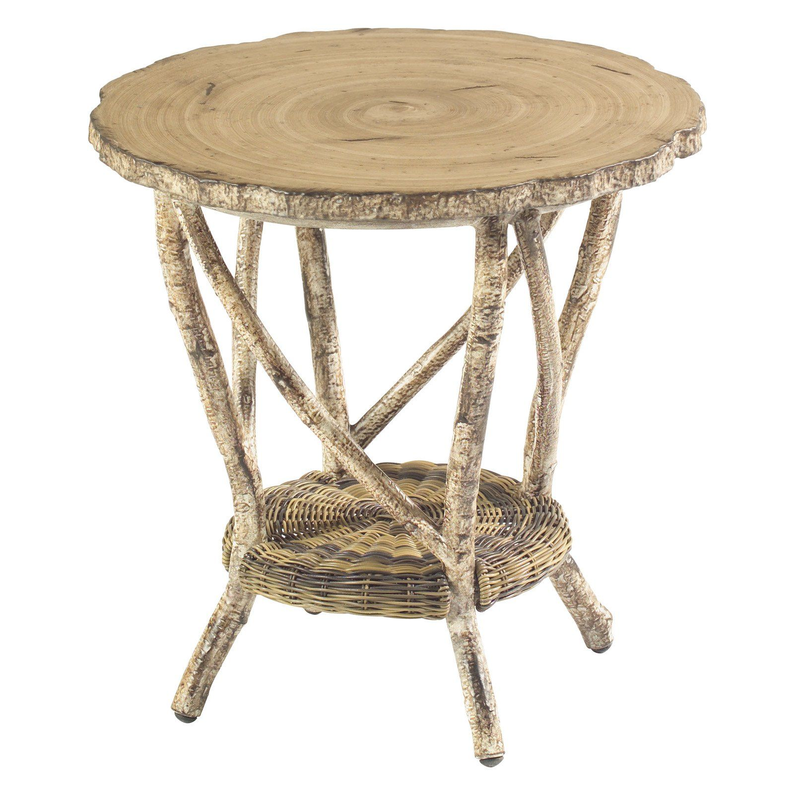 Outdoor Whitecraft by Woodard River Run End Table with Faux Birch