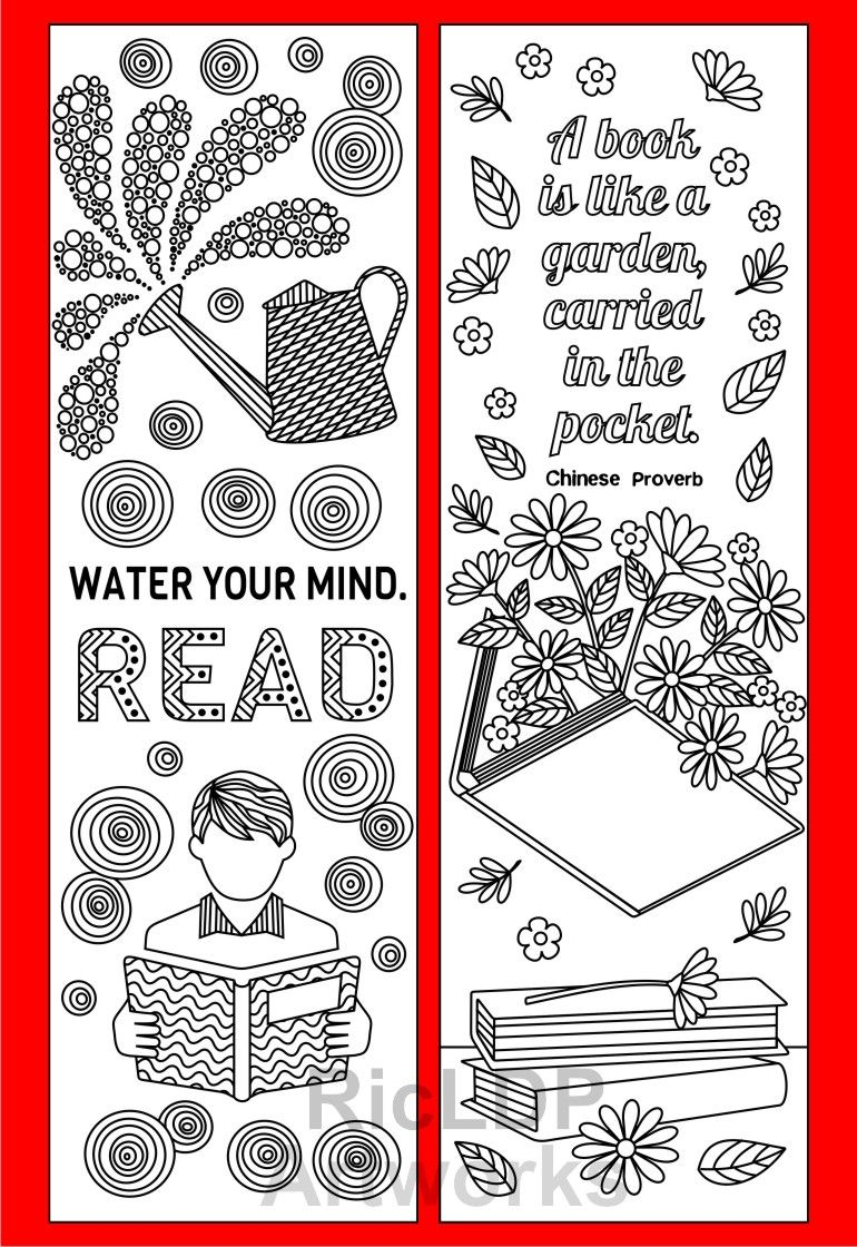 8 Coloring Bookmarks With Quotes On Reading And Books Coloringbookmarks
