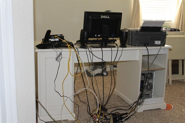 how to hide computer cords mount the power strip s to the side wall by the tower then add cup. Black Bedroom Furniture Sets. Home Design Ideas