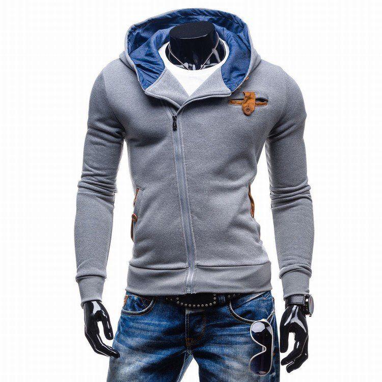Inclined Zipper Design Hoodie Sweatshirt Slim Fit Men