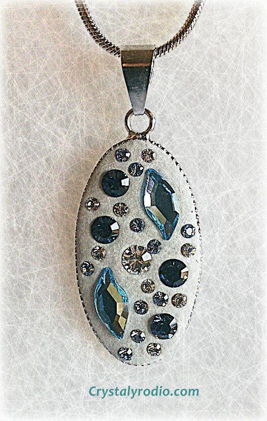 Colgante de ceralun en tonos azules CRYSTAL TALLADO jewelry