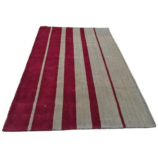 Indian Hand Tufted Area Rug - 4′11″ × 8′ ($250) ❤ liked on Polyvore featuring home, rugs, grey area rug, indian area rugs, indian rugs, burgundy area rugs and grey rug