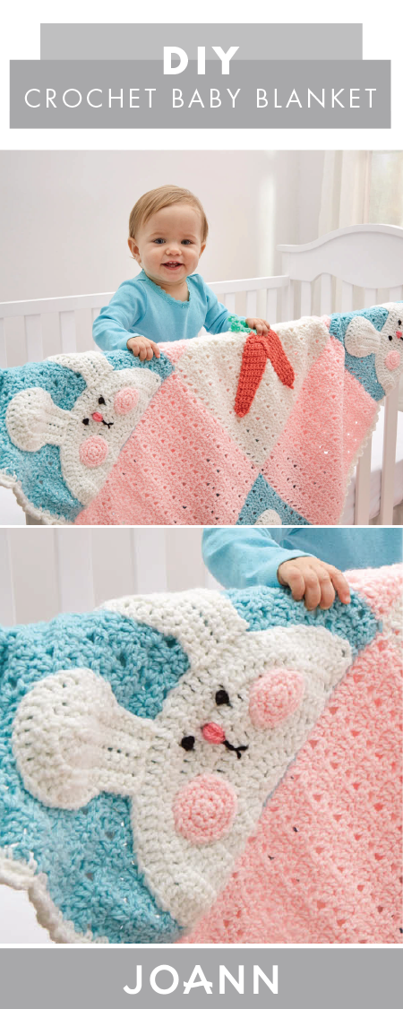 This DIY Crochet Bunny & Carrots Baby Blanket from JOANN would be ...