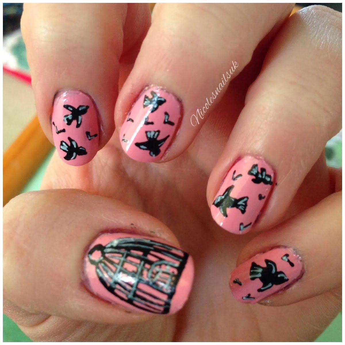 Pink bird nail design, bird cage, nail art, birds, nicolesnailsuk ...