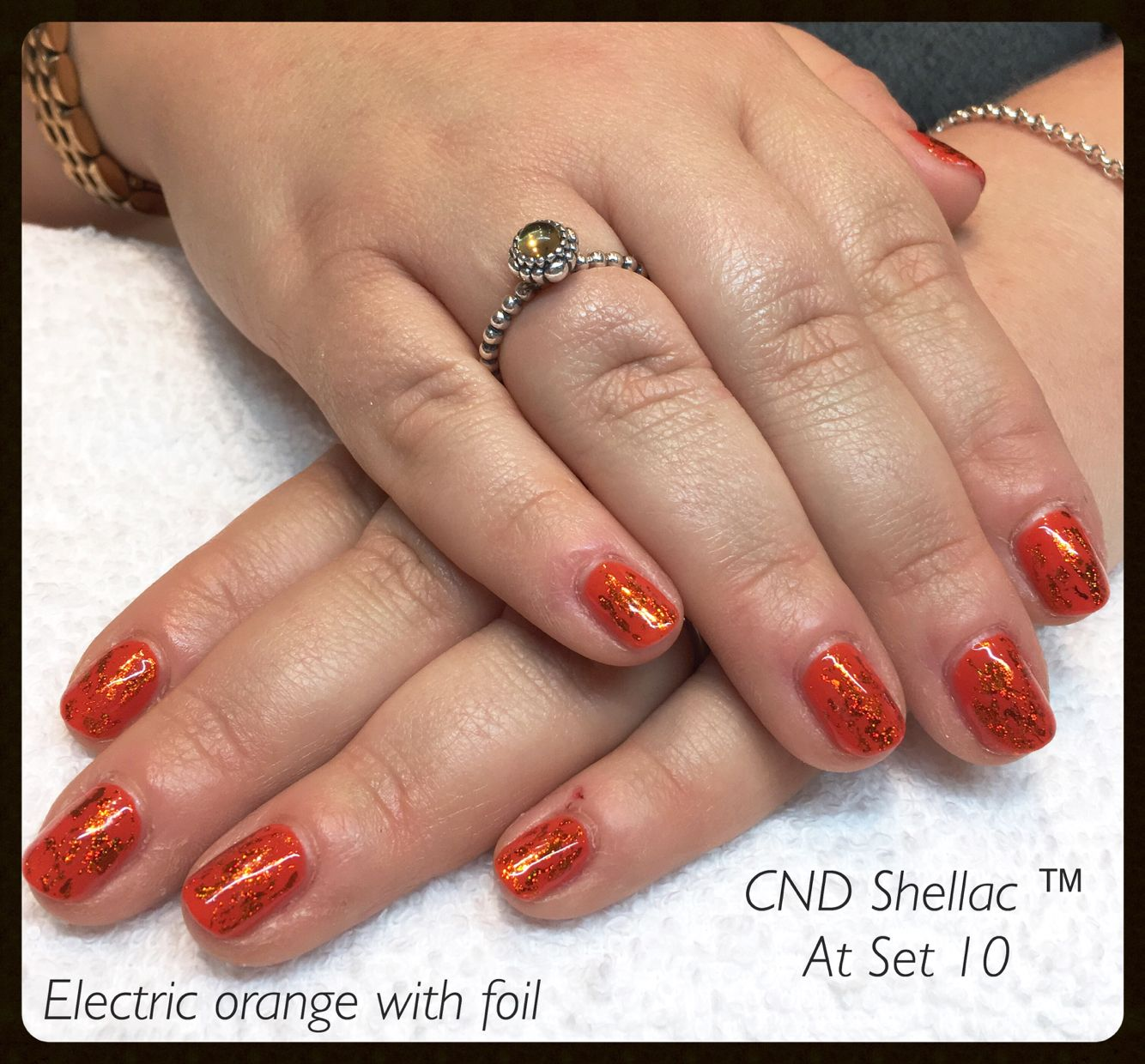 Electric orange with foil