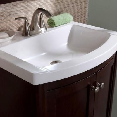 St. Paul Madeline 24 In. Vanity In Chestnut With Composite Vanity Top In  White