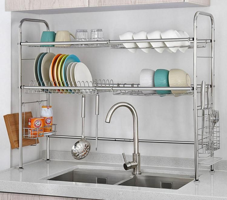 Over The Sink Dish Drying Rack And Storage Area Kitchen Cutlery