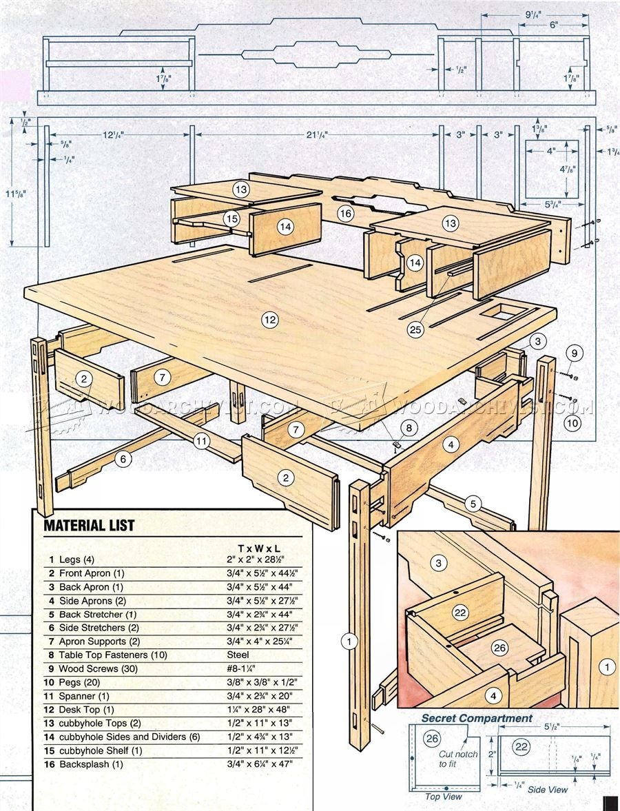 2016 santa fe style desk plans furniture plans [ 900 x 1177 Pixel ]