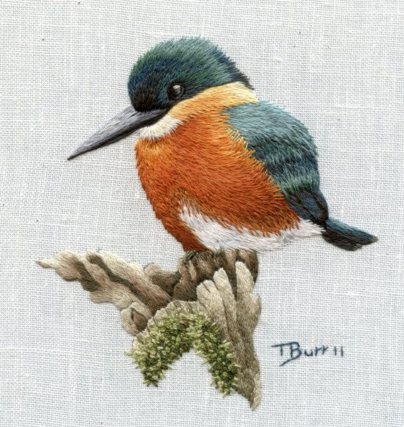 Embroidery american kingfisher trish burr cape town