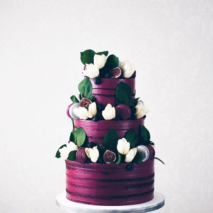 Three tier purple wedding cake #weddingcake #cake #weddingcakes #tooprettytoeat #prettycake #weddinginspiration