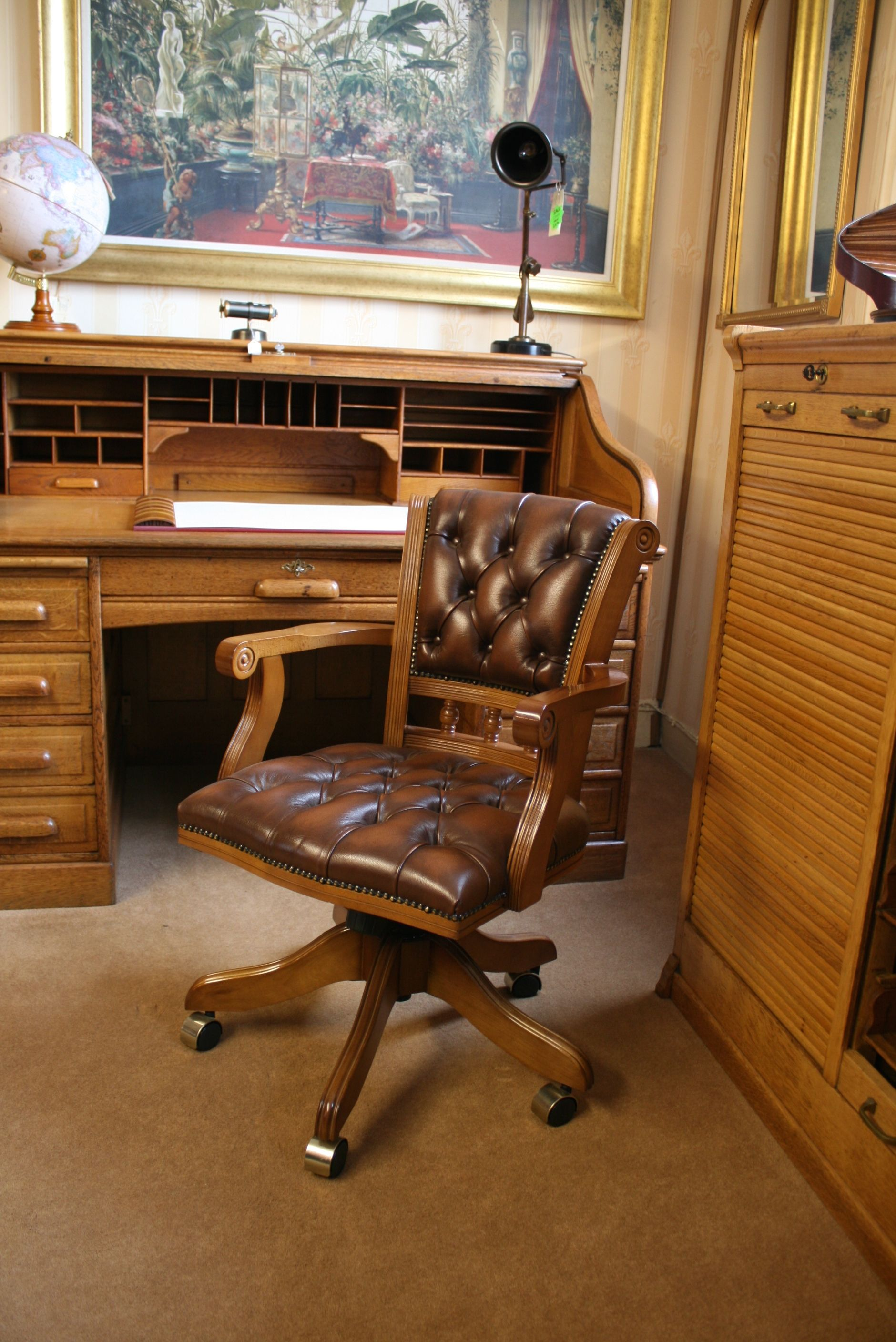 Viscount Swivel Desk Chair. Tan Leather Upholstery