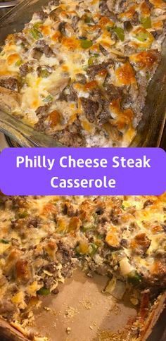 Keto Low-Carb Philly Cheese Steak Casserole #ketorecipes
