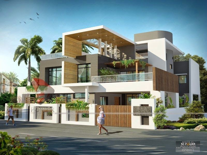 We are expert in designing 3d ultra modern home designs for Indian home exterior designs