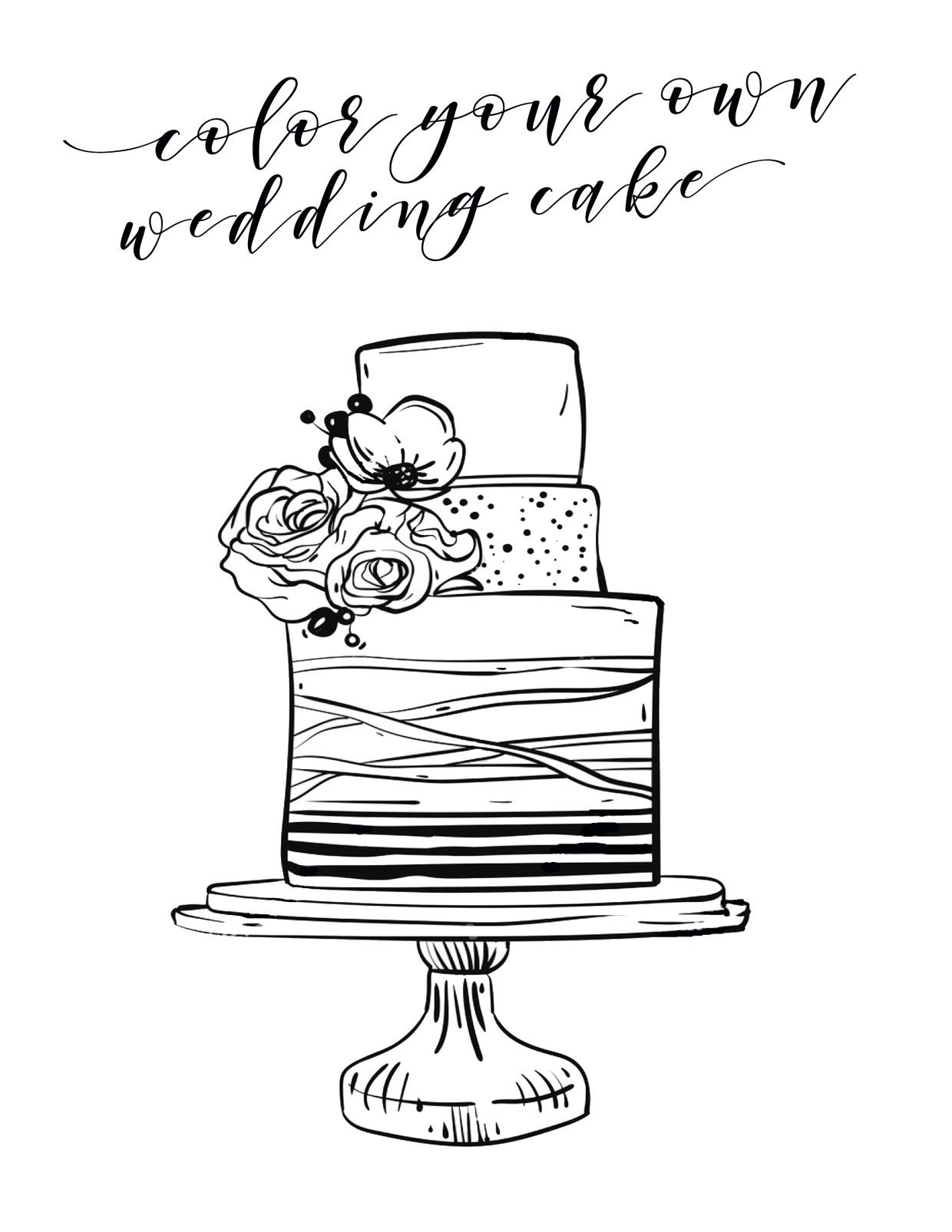 Free Printable Kids Coloring Page For Your Wedding Reception