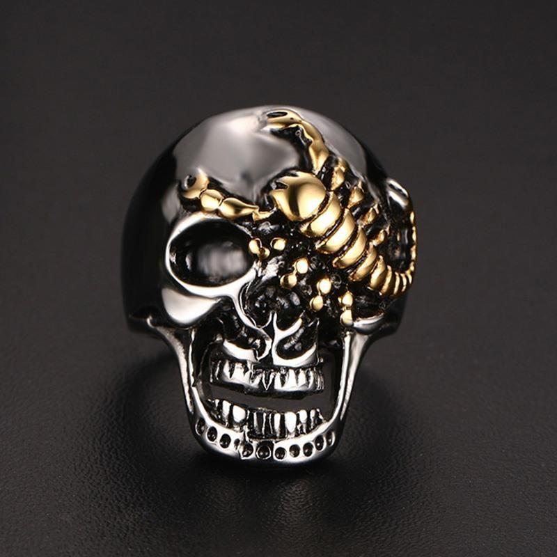 Skull Bone Scorpion Stainless Steel Biker Men's Rings ...