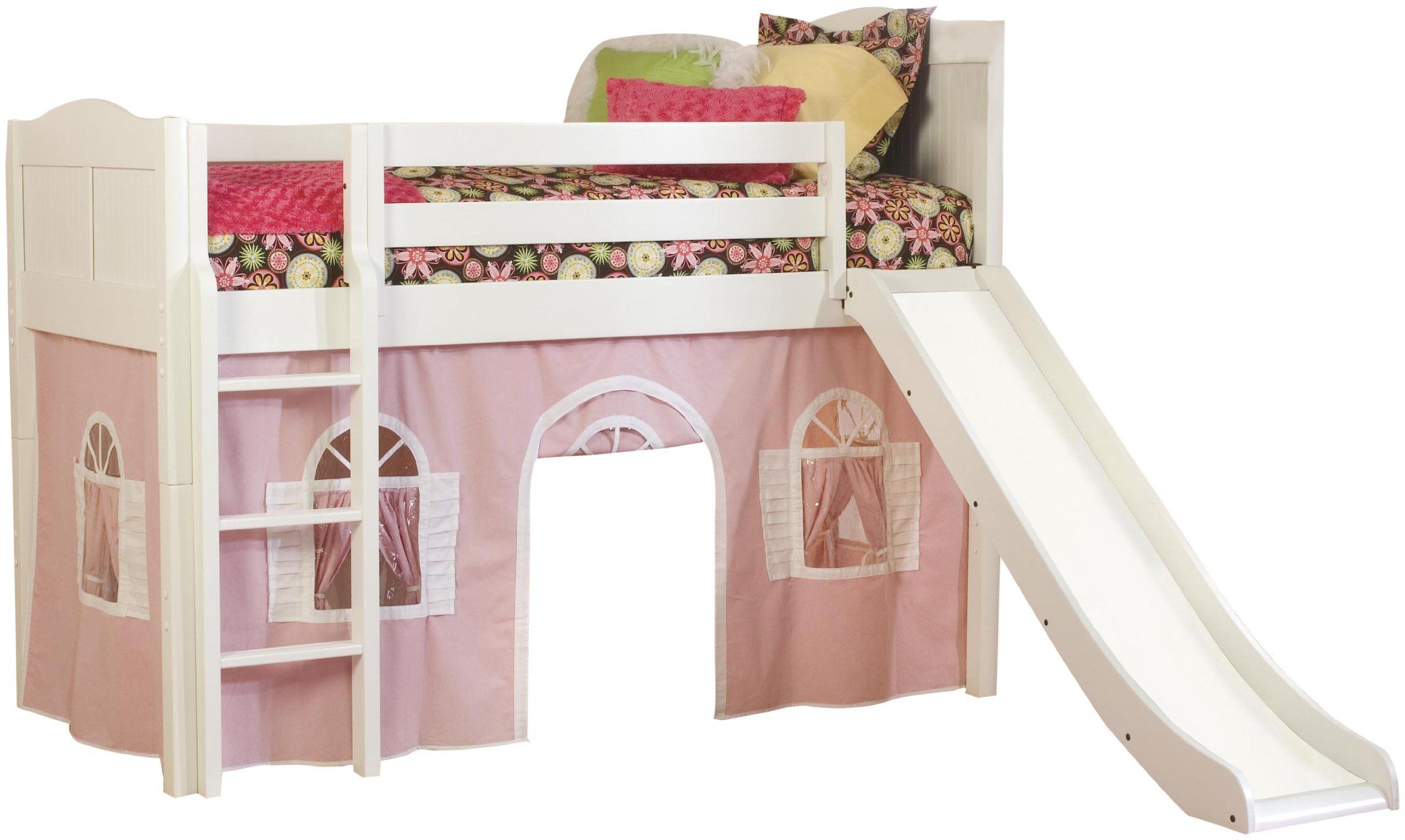 Funny play beds for cool kids - Pink White Kids Bunk Beds Slide Tent Design Cool Kid Beds Funny Play Beds Cool Kids