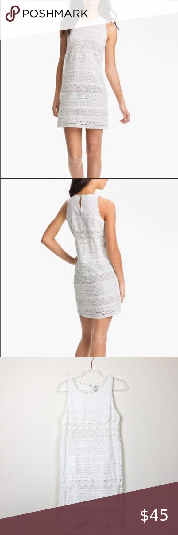 Joie Behati White Eyelet Shift Dress Size M Medium Shift Dress Dresses White Eyelet [ 1740 x 580 Pixel ]